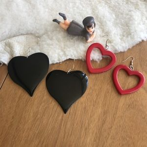 💎 Lot of 2 Pairs Large Heart Earrings